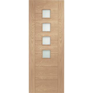 2032x813x35mm (32) XL Joinery Palermo Original Internal Oak Door with Obscure Glass (OGOPAL32)